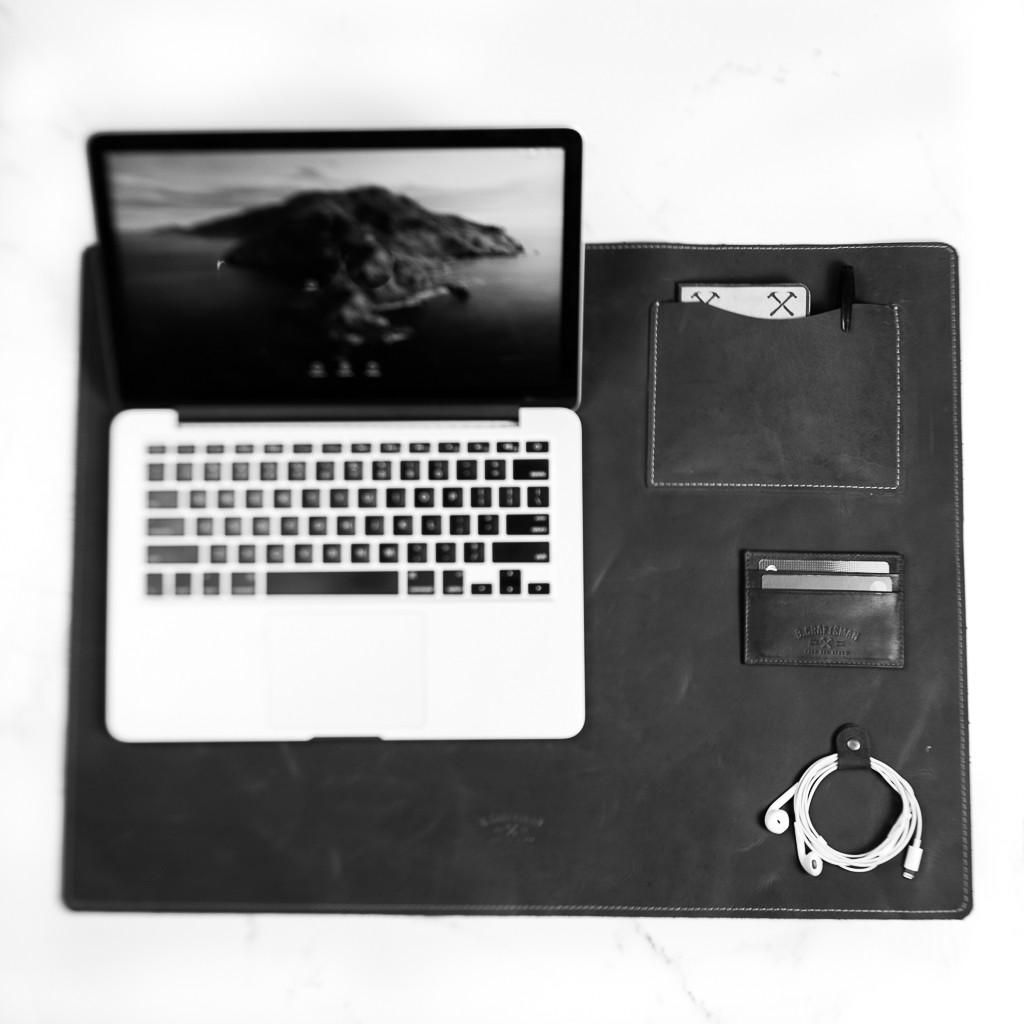 Deskpad em Couro Preto 90x45