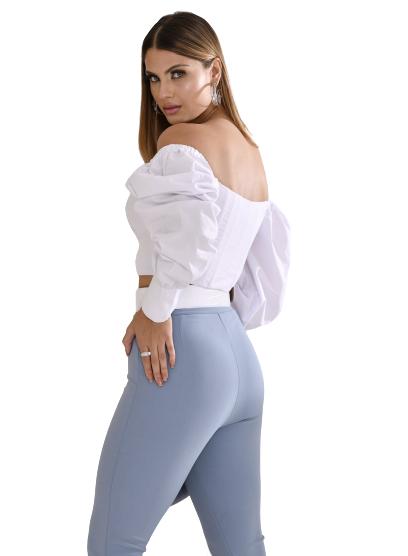 Blusa manga bufante com decote trançado
