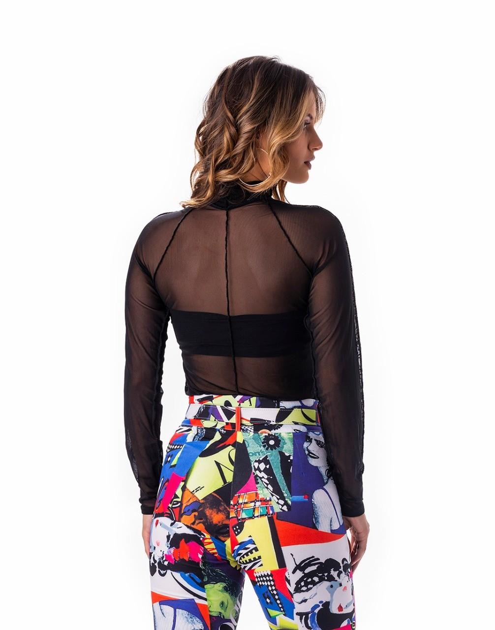 Blusa manga longa com top faixa