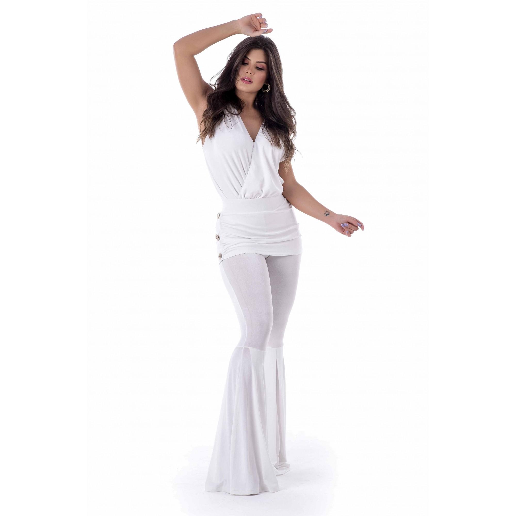 Conjunto body de malha e calça sobreposição