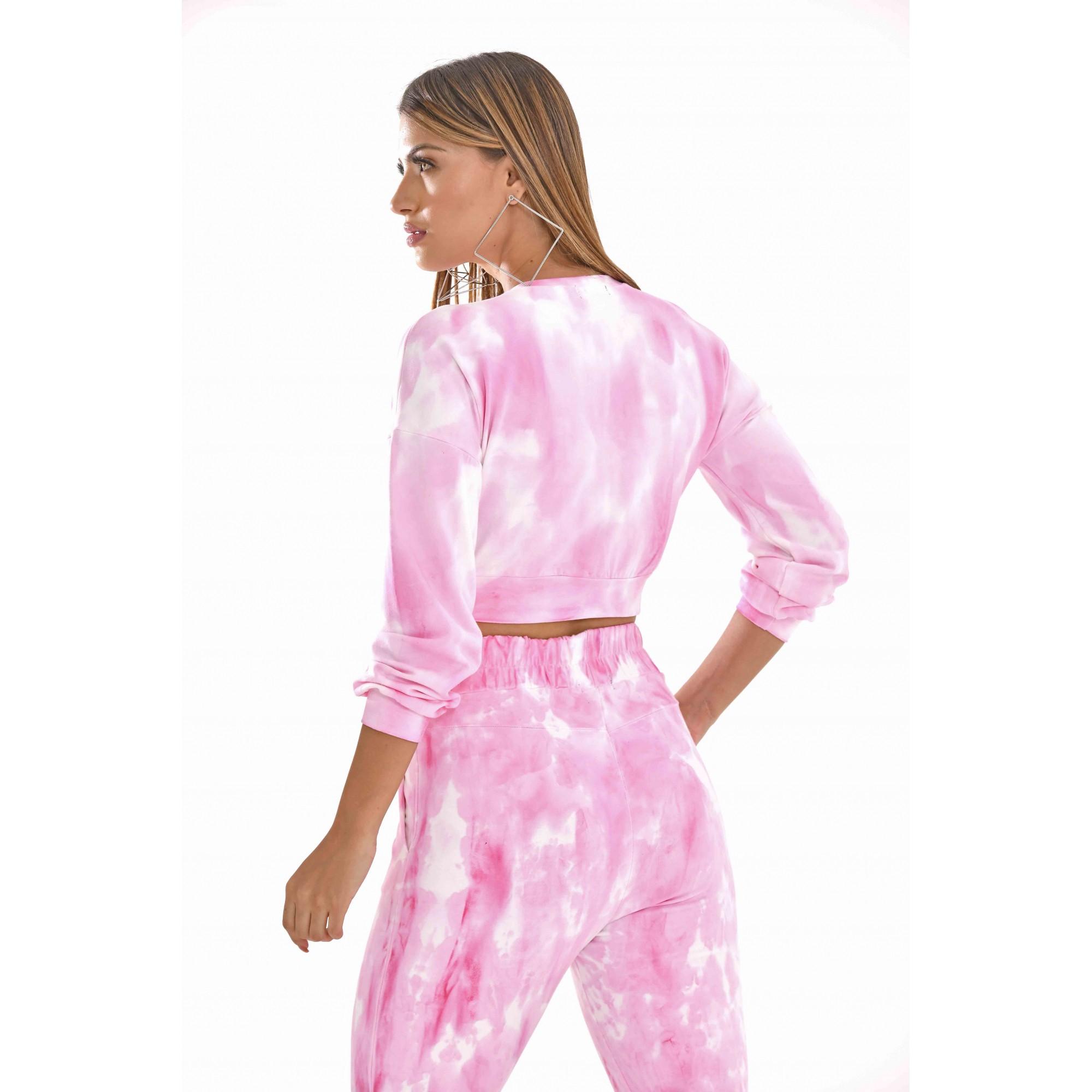 Conjunto tie dye com calça e cropped