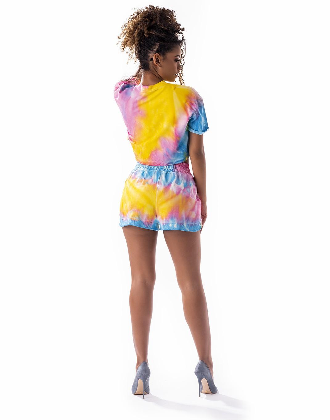 Conjunto tie dye short e cropped