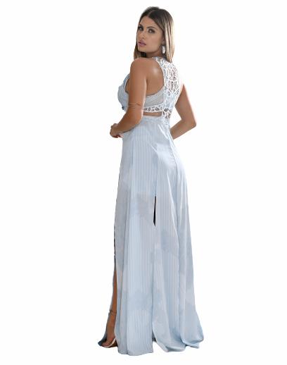 Conjunto vestido longo com estampa exclusiva hot pants e top
