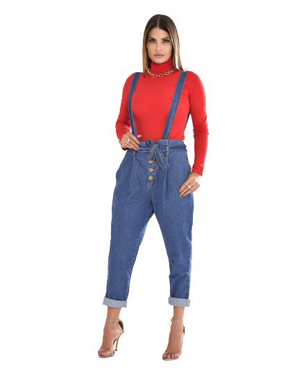 Jardineira jeans cenoura