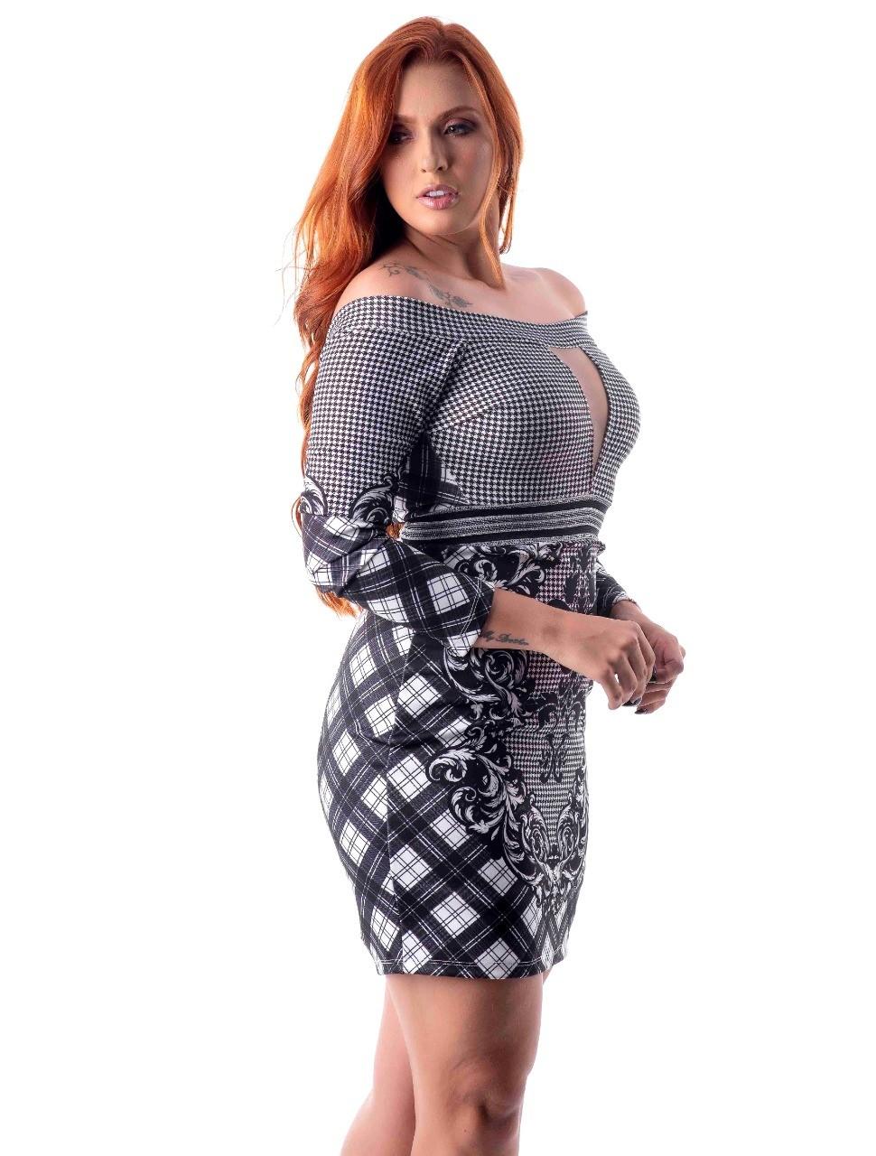 Vestido com estampa exclusiva com elastano na cintura