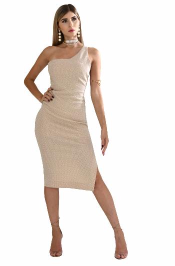 Vestido curto de malha com lurex com transfer