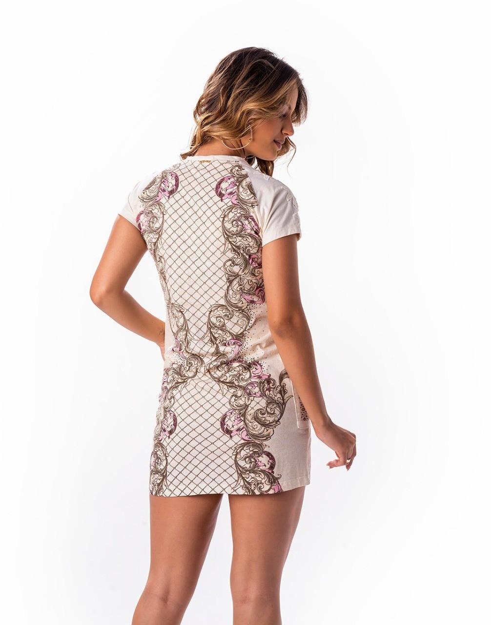 Vestido estampa exclusiva + bordado