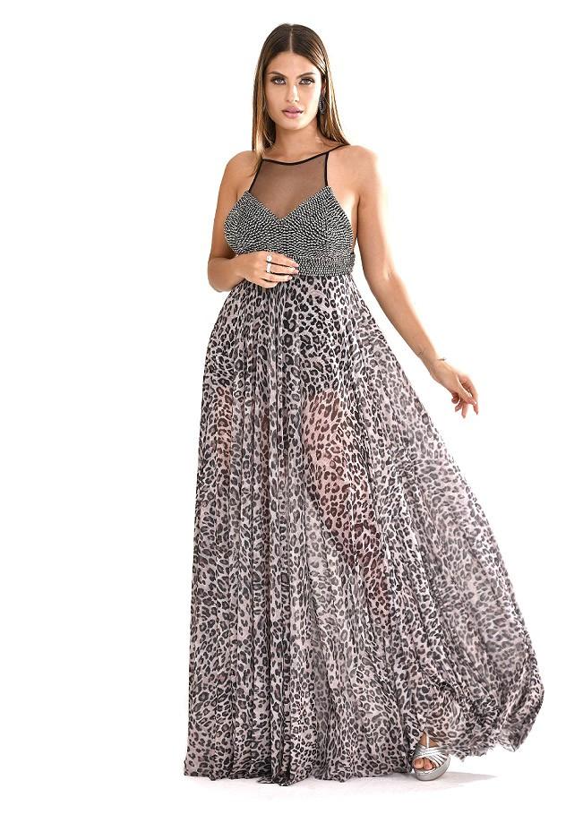 Vestido longo de tule com top bordado e estampa de onça