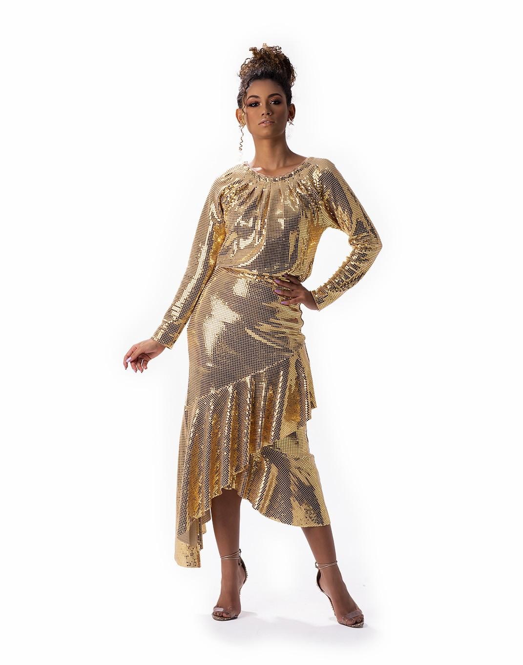 Vestido malha dourada com cinto