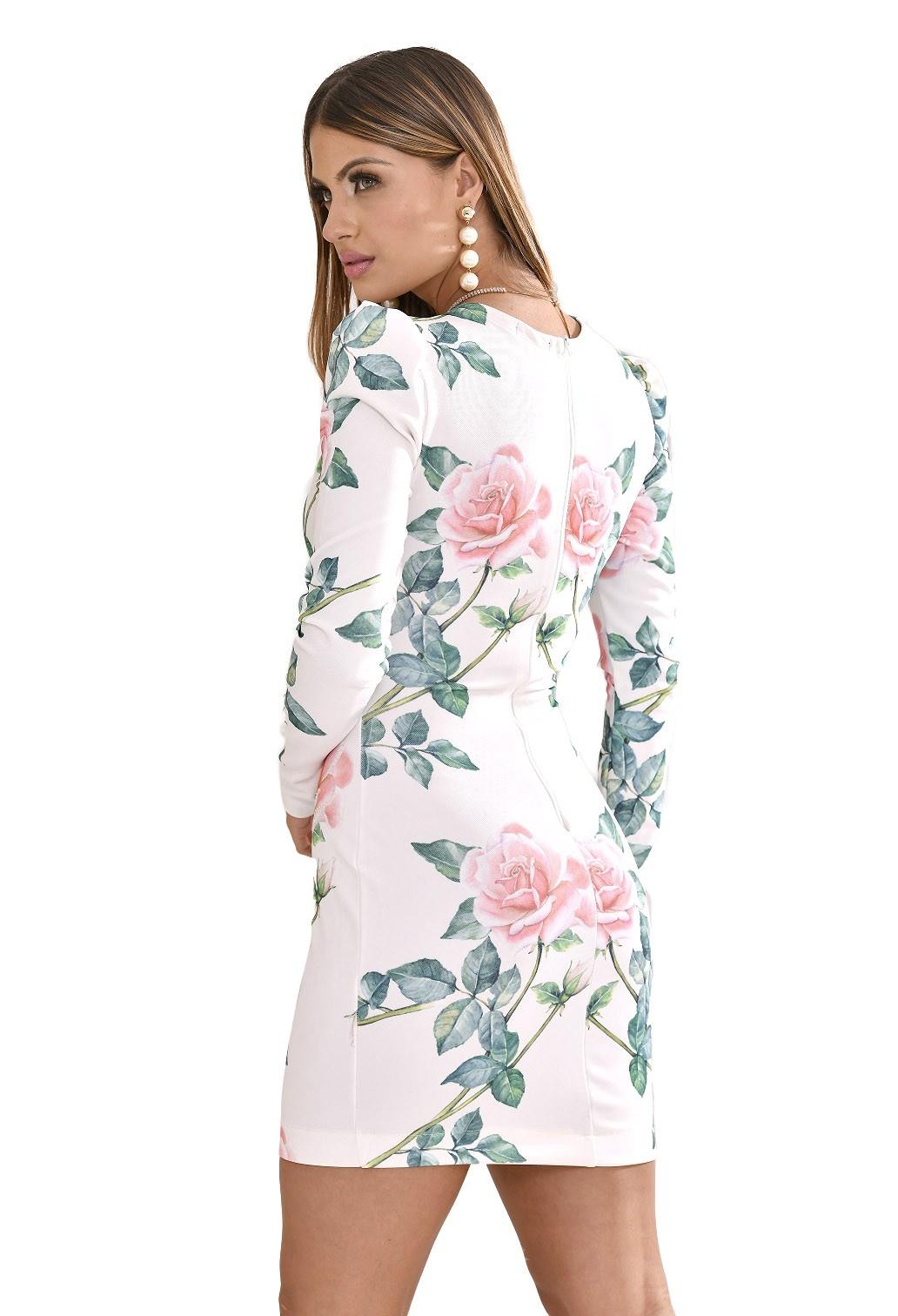 Vestido manga longa floral