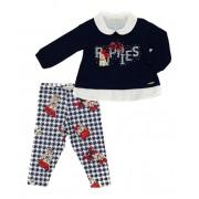 Conjunto Infantil Bebê Bata Azul com Calça Estampada Matinée