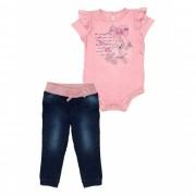 Conjunto Infantil Bebê de Body Rosa com Calça Jeans Matinée