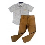 Conjunto Infantil Camisa Cinza com Calça Sarja Marrom Club Z