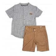 Conjunto Infantil de Camisa Gola Bata com Bermuda Sarja Club Z