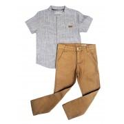 Conjunto Infantil de Camisa Gola Bata com Calça Sarja Club Z