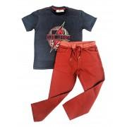 Conjunto Infantil de Camiseta Azul com Calça Sarja ClubZ