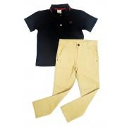 Conjunto Infantil de Polo Azul com Calça Sarja  Club Z