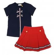 Conjunto Infantil Feminino Blusa Azul Saia Vermelha Matinée