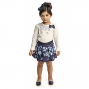 Conjunto Infantil Feminino Blusa Branca e Saia Azul Matinée