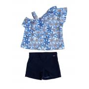 Conjunto Infantil Feminino Blusa Floral e Shorts Matinée