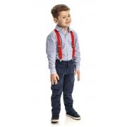 Conjunto Infantil Masculino Camisa Azul Claro e Calça Club Z