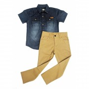 Conjunto Infantil Masculino Camisa Jeans+Calça Sarja Club Z