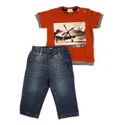 Conjunto Infantil Masculino Camiseta  e Calça Jeans Club Z