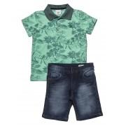 Conjunto Masculino Infantil Pólo com  Bermuda Jeans Club Z