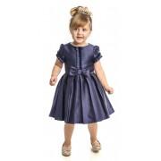 Vestido Festa Infantil Laço Frontal Azul Marinho Matinée