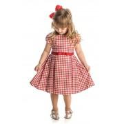 Vestido Infantil Estampado de Pied Poule Vermelho Matinée