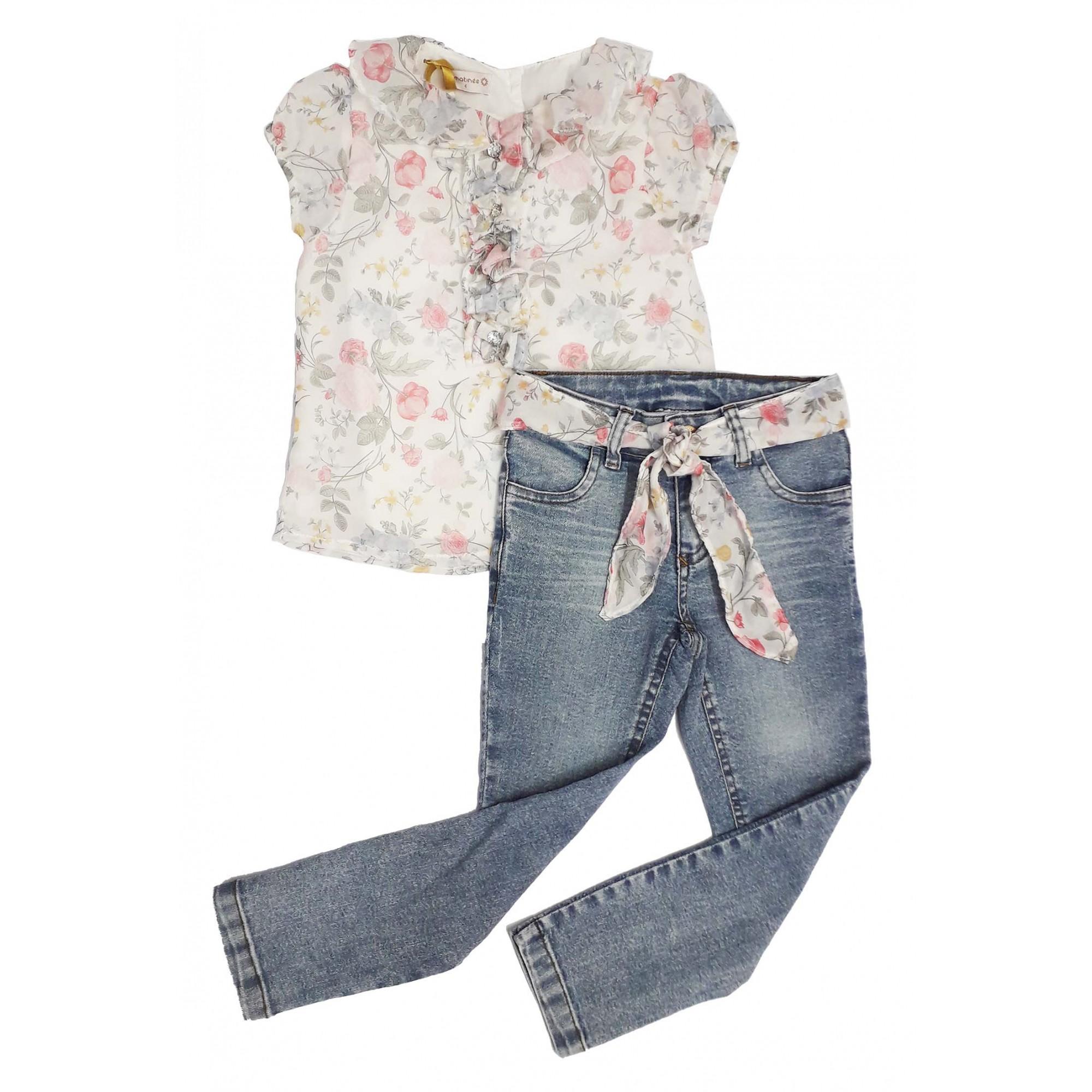 Conjunto Feminino Infantil Bata e Calça Jeans Matinée