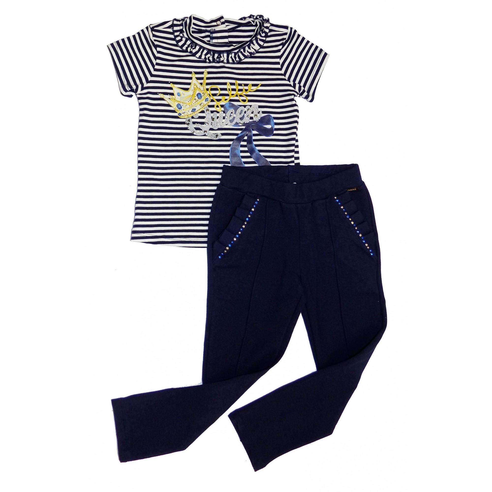 Conjunto Feminino Infantil Blusa Azul com Calça Matinée
