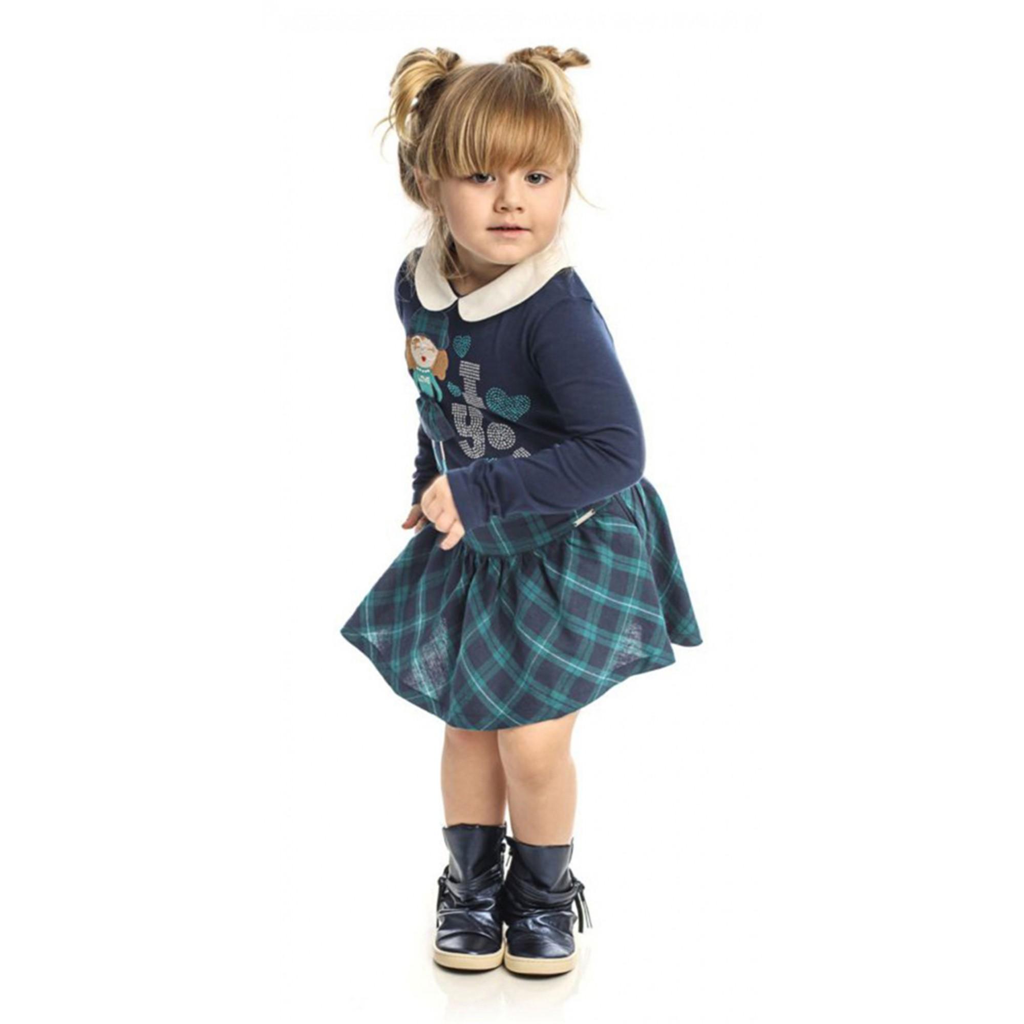 Conjunto Feminino Infantil Blusa Azul + Saia Xadrez Matinée
