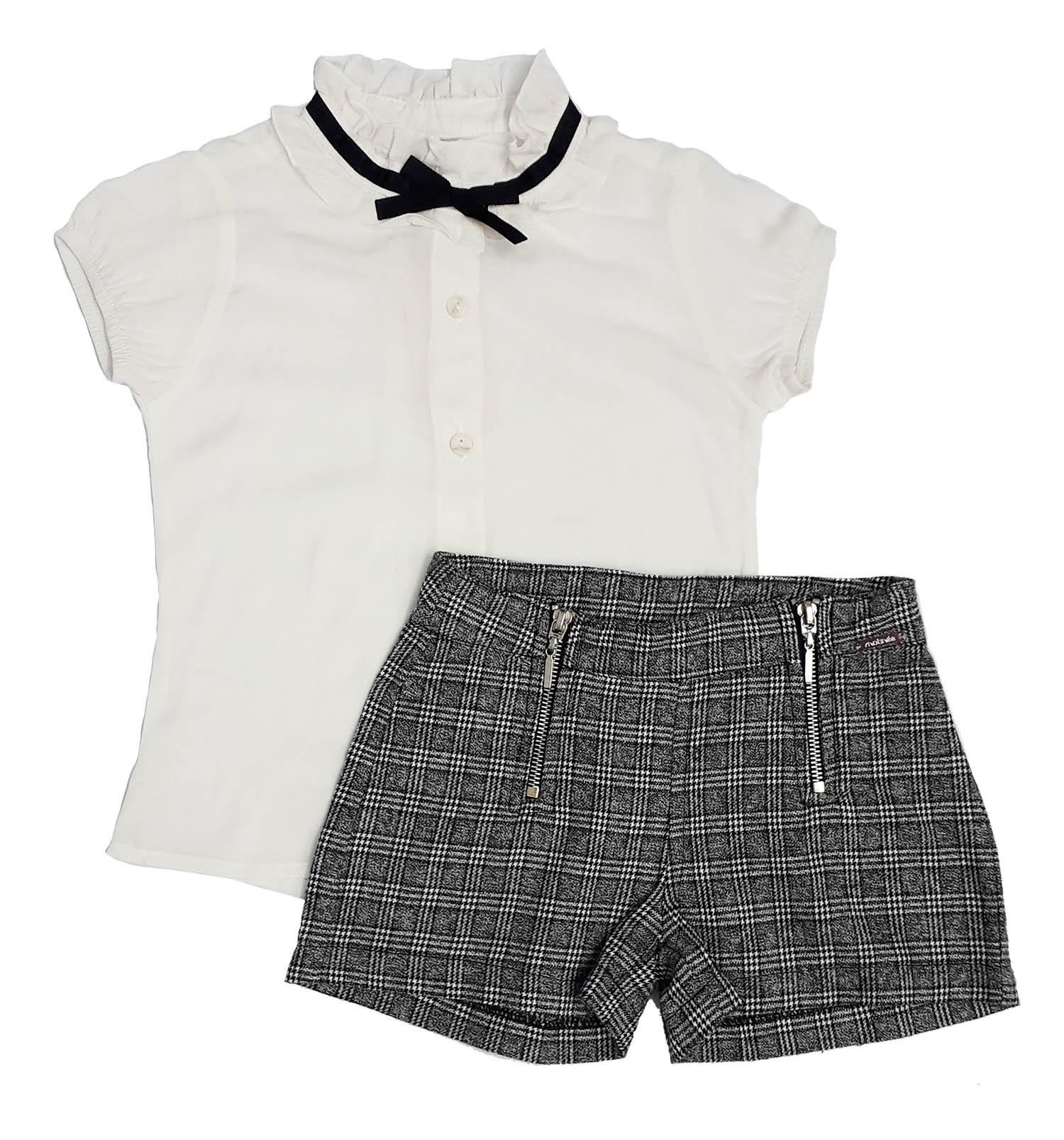 Conjunto Feminino Infantil Blusa Branca com Shorts - Matinée