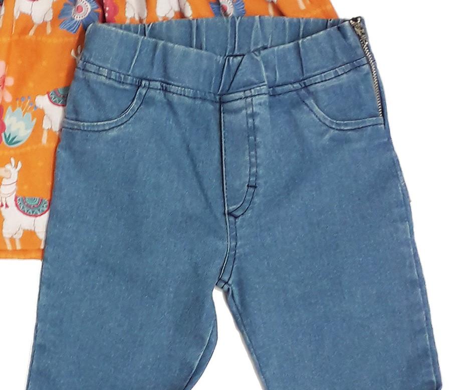 Conjunto Feminino Infantil de Bata Estampada com Calça Jeans Matinée