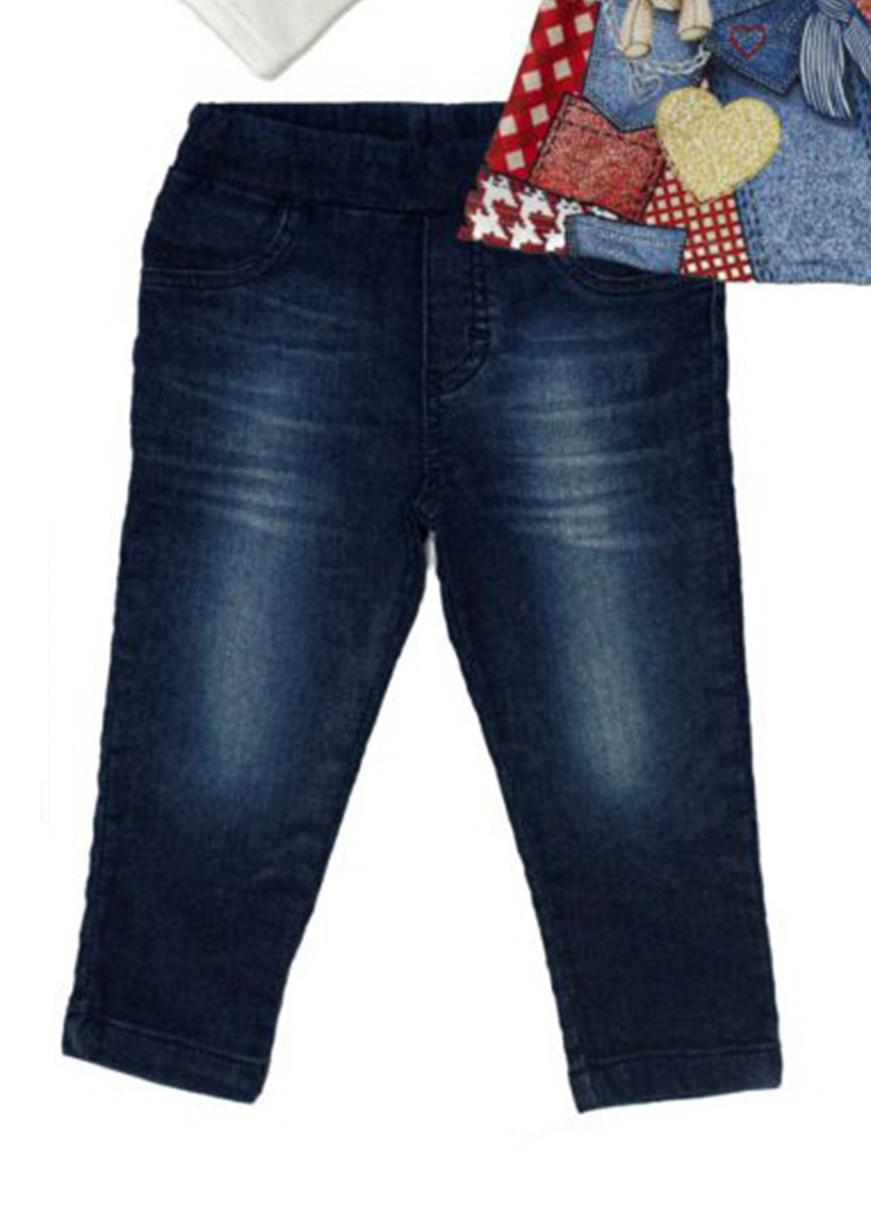 Conjunto Infantil Bata Branca com Calça Jeans Matinée