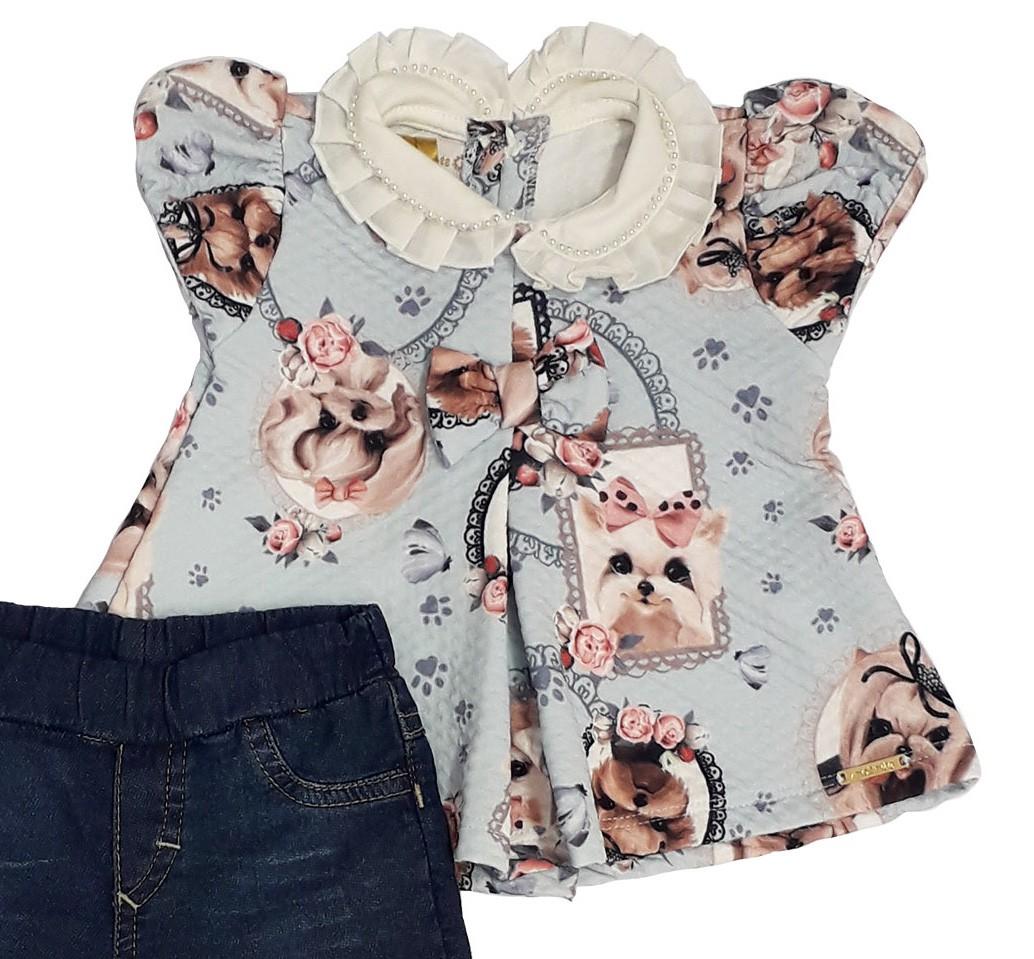 Conjunto Infantil Bebê Bata Azul com Calça Jeans Matinée