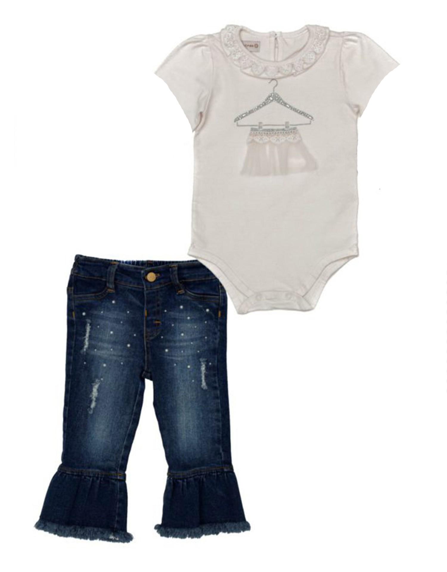 Conjunto Infantil Bebê Bata Branca com Calça Jeans Matinée