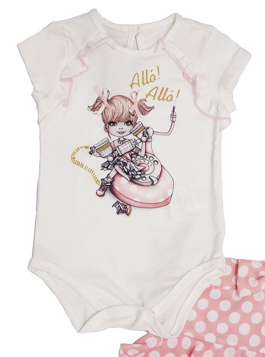 Conjunto Infantil Bebê de Body com Short Rosa Matinée