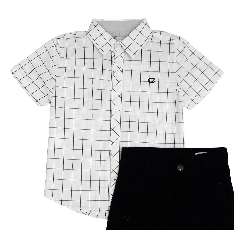 Conjunto Infantil Camisa Branca com Bermuda Sarja Club Z