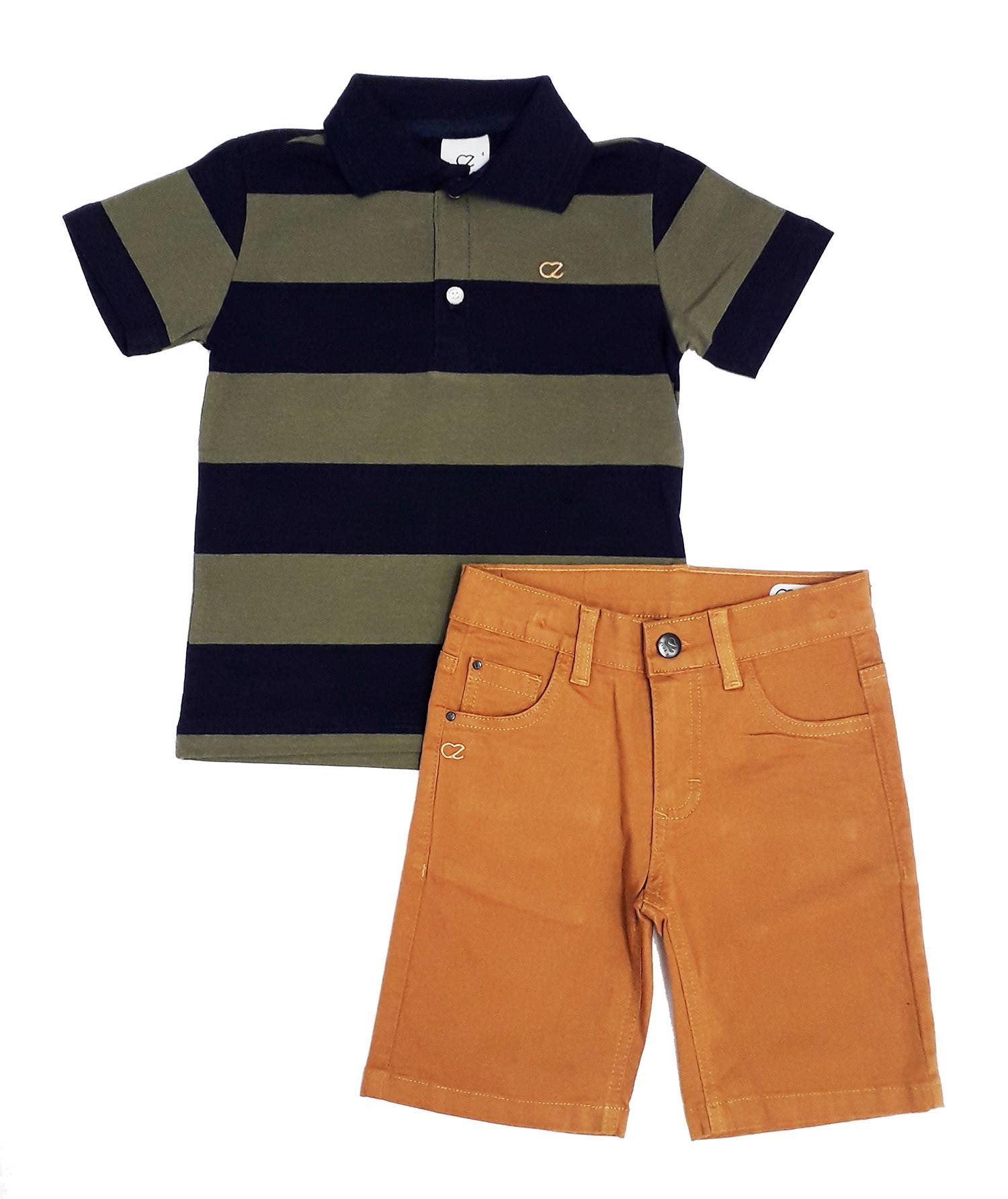 Conjunto Infantil Camisa Polo com Bermuda Sarja Club Z