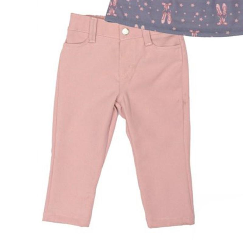 Conjunto Infantil de Blusa Estampada com Calça Rosa Matinée
