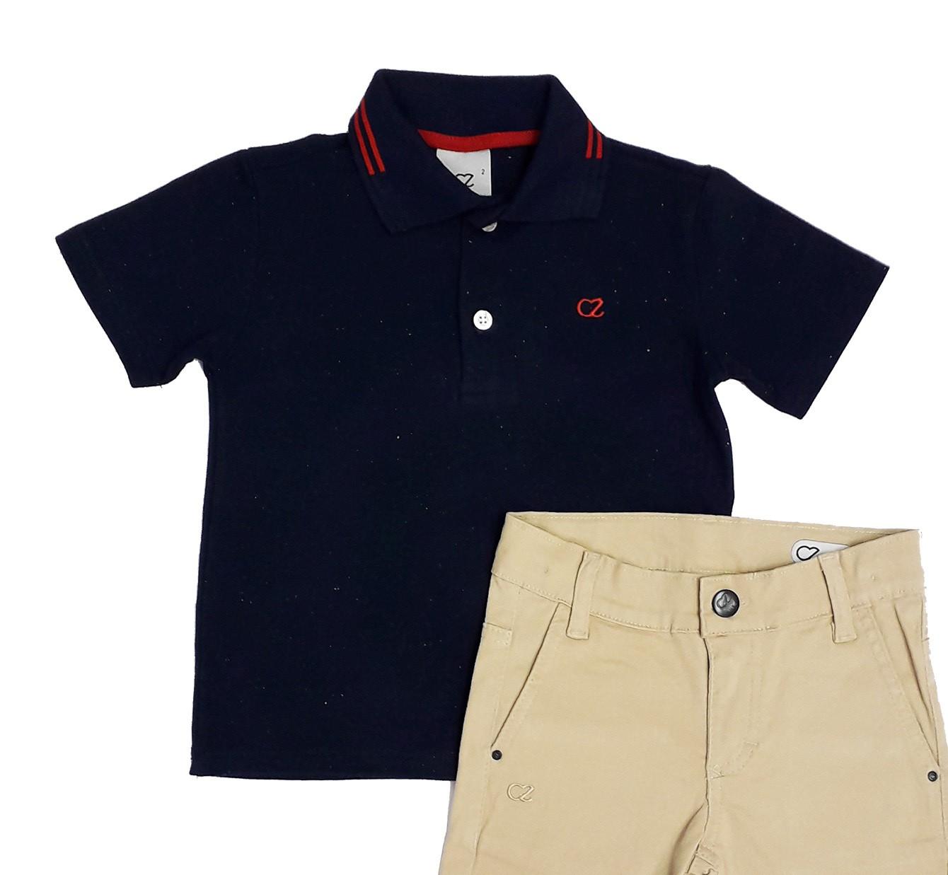 Conjunto Infantil de Polo Azul com Bermuda Sarja  Club Z
