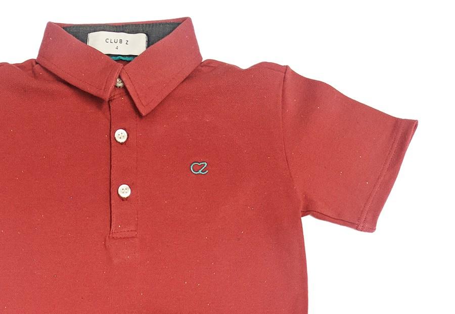 Conjunto Infantil de Polo Vermelha com Calça Jeans Club Z