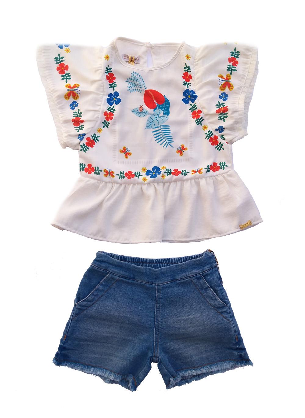 Conjunto Infantil Feminino Blusa Branca e Shorts Jeans