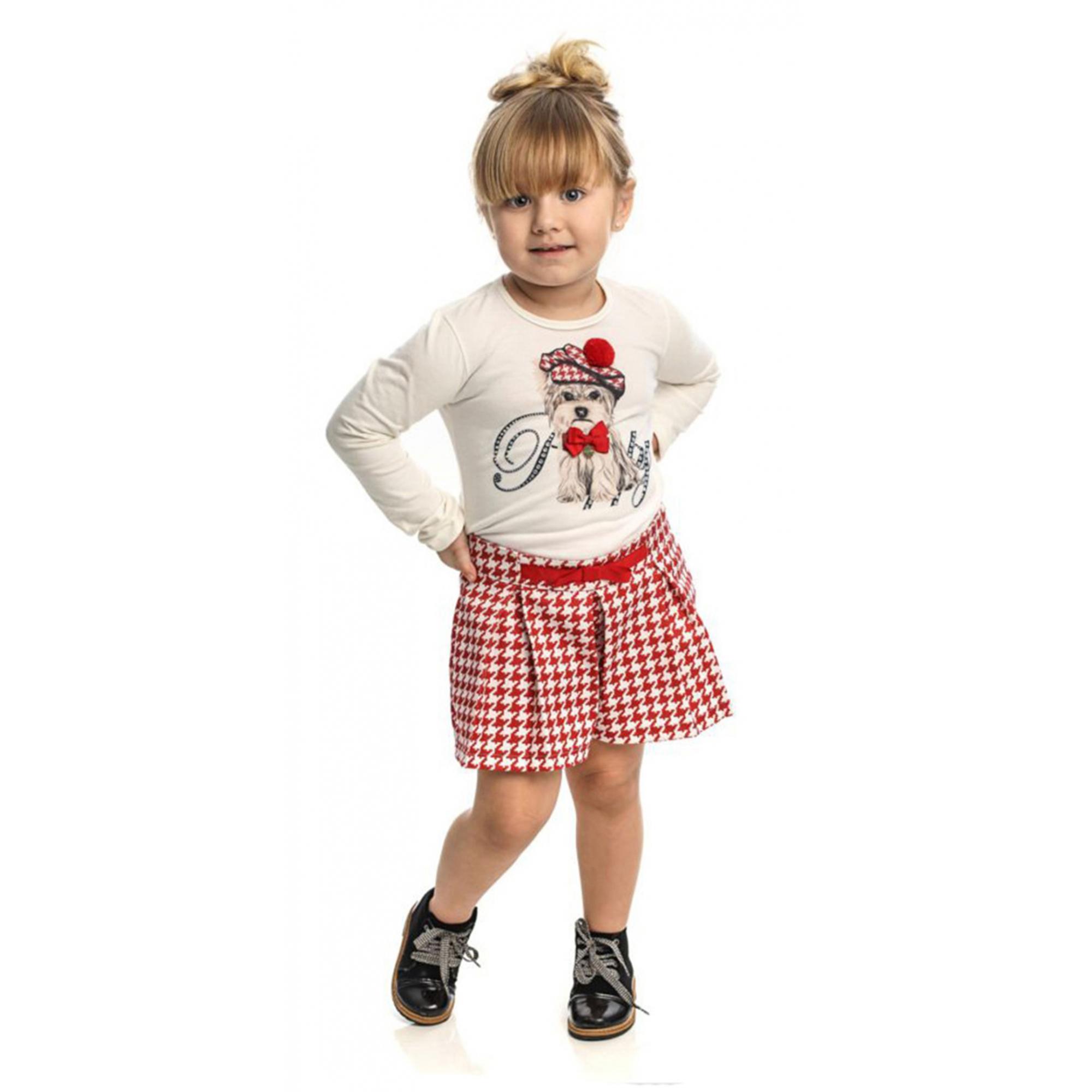 Conjunto Infantil Feminino Blusa Cru com Shorts Matinée