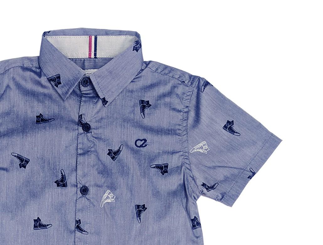 Conjunto Infantil Masculino Camisa Azul e Calça Jeans Club Z
