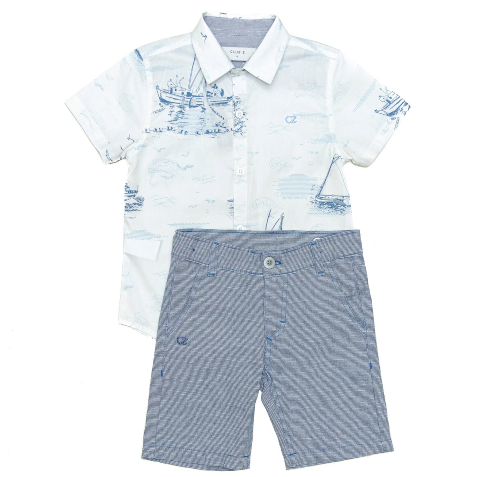 Conjunto Infantil Masculino Camisa e Bermuda Sarja Club Z