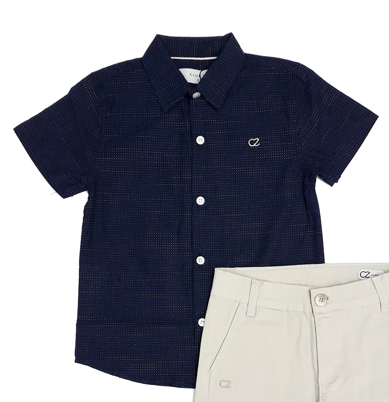 Conjunto Infantil Masculino Camisa Jeans com Bermuda Club Z