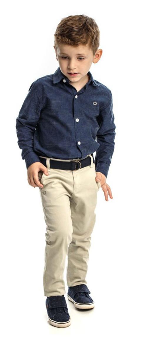 Conjunto Infantil Masculino Camisa Jeans com Calça Club Z